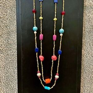 """NEW Chico's Long Layered Gold 34"""" Boho Necklace"""